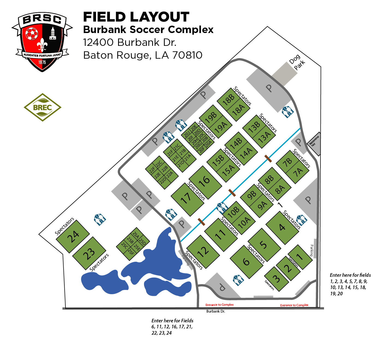 Burbank Soccer Complex Field Map