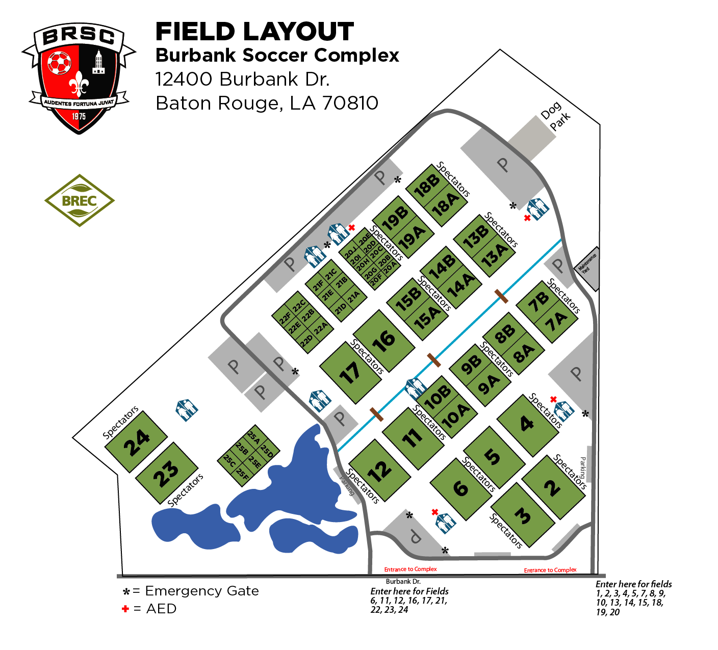 Burbank Soccer Complex Field Map