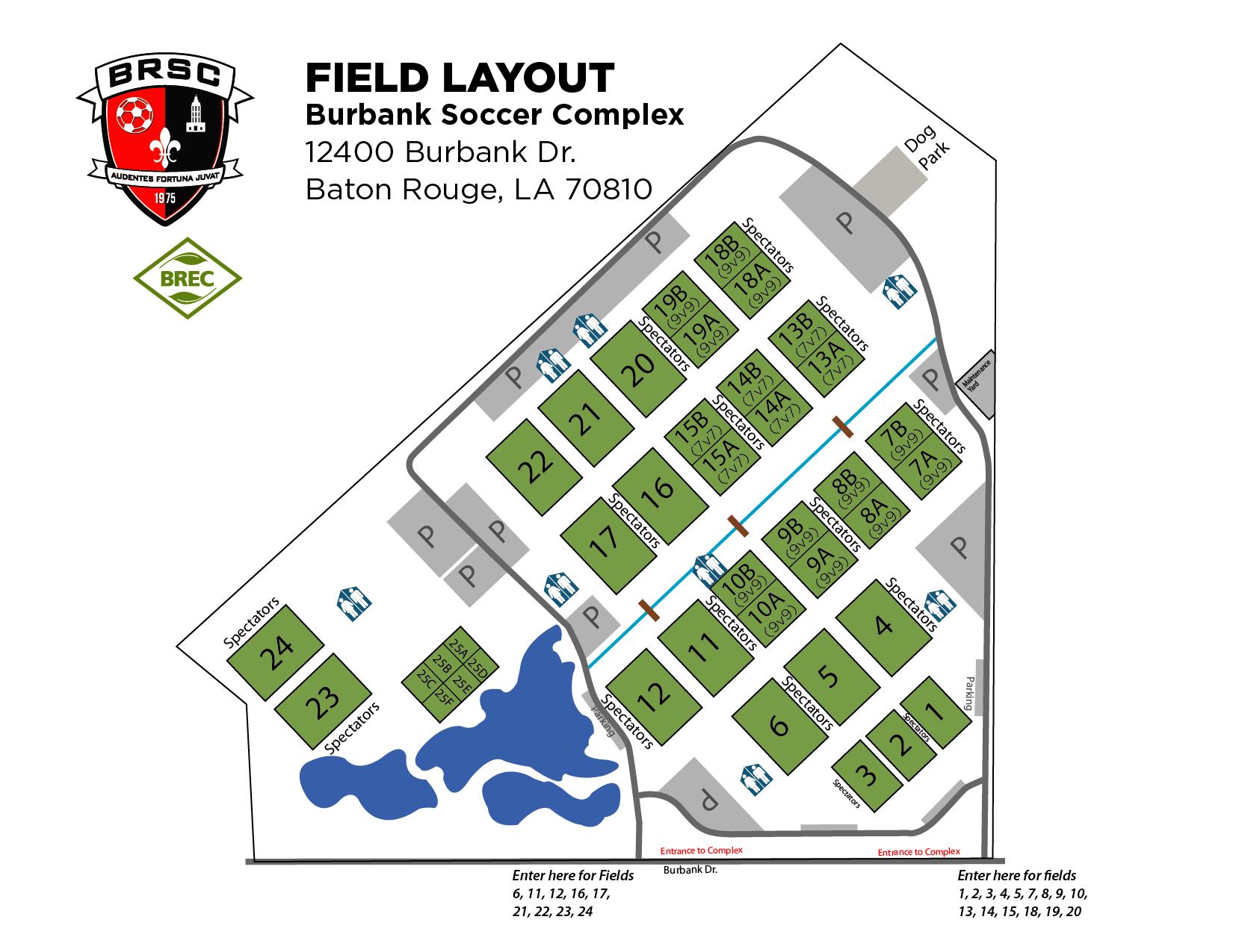 BRSC Field Map - Burbank Soccer Complex